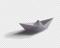 Корабль бумаги вектора Иллюстрация шлюпки Origami с тенью на изолированной прозрачной предпосылке бесплатная иллюстрация