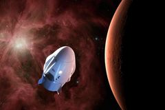 Корабль груза в орбите низко-Марса Элементы этого изображения поставленные NASA стоковые фото