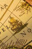 корабль карты старый стоковое фото
