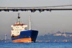 Корабль контейнера на Bosphorus Стоковые Изображения RF
