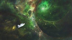 Корабль летает к червоточине бесплатная иллюстрация