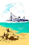 корабль моря ландшафта тропический Стоковые Изображения
