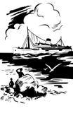 корабль моря ландшафта Стоковое Фото