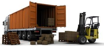 корабль перевозки поставки контейнера иллюстрация вектора
