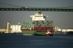 корабль пропусков контейнера моста вниз Стоковые Изображения RF