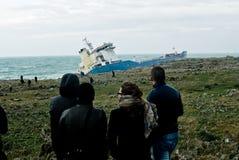 корабль сели на мель Сицилия, котор нефти Стоковая Фотография RF