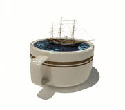 корабль sailing кофейной чашки Стоковые Фотографии RF
