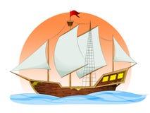 корабль sailing иллюстрация вектора