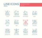 Корабли - линия установленные значки дизайна иллюстрация штока