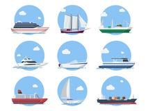 Корабли и шлюпки в плоском стиле иллюстрация вектора