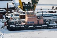 Корабли на автостоянке зимы Стоковое Изображение RF