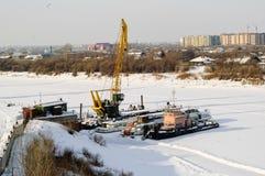 Корабли на автостоянке зимы Стоковые Изображения RF