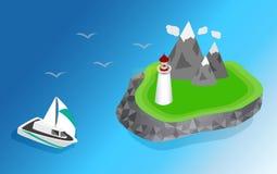 Корабли плавая к маяку Стоковое фото RF