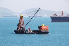 Корабль баржи, грузовой корабль, сосуд океана в море Стоковая Фотография