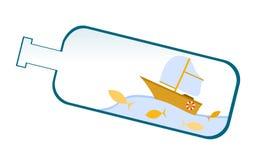 Корабль внутри бутылки иллюстрация штока