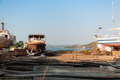 Корабль в сухом доке в Murter, Хорватии Стоковое Изображение RF