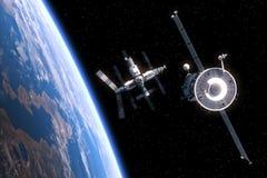 Корабль летает к космической станции Стоковые Изображения