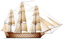 Корабль линии, линкор мановара иллюстрация вектора