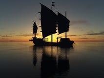 Корабль и восход солнца Стоковое Изображение RF