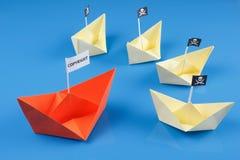 Корабль и несколько шлюпки пирата Стоковое Изображение
