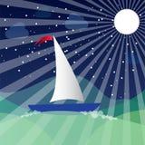 Корабль на море и луне также вектор иллюстрации притяжки corel Стоковая Фотография
