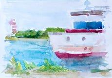 Корабль на море, картина акварели на холсте Стоковые Фотографии RF