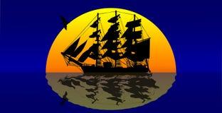Корабль пиратов против захода солнца стоковое фото