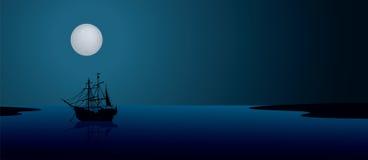 Корабль под лунным светом Стоковое Фото