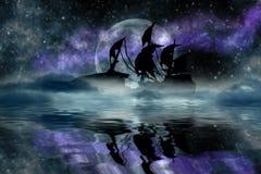 Корабль под луной Стоковое Изображение RF