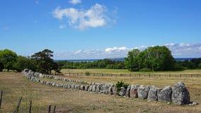 Корабль Gannarve камня Викинга, остров Готланда, Швеции Стоковая Фотография RF