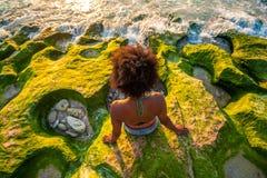 коралловый риф на заходе солнца стоковое фото rf