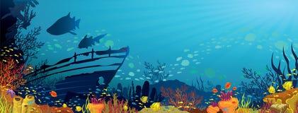 Коралловый риф с акулами Стоковое Изображение