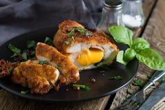 кордон цыпленка Блё Крен цыпленка с ветчиной и сыром стоковое изображение rf