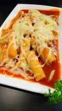 Корейская еда, горячий и пряный торт риса/Tteokbokki стоковые фотографии rf