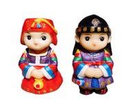 Корейские мальчик и девушка куклы Стоковое Фото