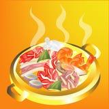 Корейские мясо и овощ гриля Стоковое Изображение RF