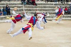 Корейские фольклорные танцоры и музыканты Стоковые Фотографии RF