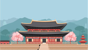 Корейский висок с горами бесплатная иллюстрация