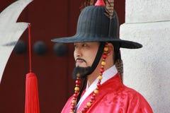 Корейский дворец, дворцовая стража Gyeongbokgung, Сеул, Южная Корея Стоковые Изображения