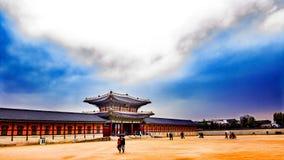 Корейский дворец в зиме стоковое фото rf