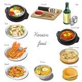 Корейский комплект кухни Собрание блюд еды иллюстрация штока