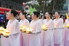 Корейский фестиваль фонарика лотоса Стоковое Фото