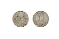 100 корейских выигранных монеток Стоковые Изображения