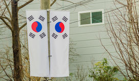 2 корейских флага на поляке телефона Стоковое Фото