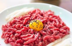 Корейское yukhoe еды Стоковое Изображение