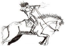 коренной американец который снимает с винтовкой на скача галопом мустанге иллюстрация штока