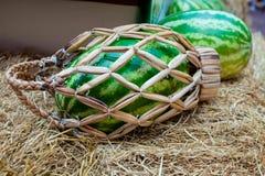 Корзина арбуза плетеная с ручкой на сене Стоковое фото RF