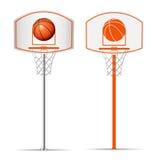Корзина баскетбола, обруч, шарик изолированный на белой предпосылке Стоковые Фото