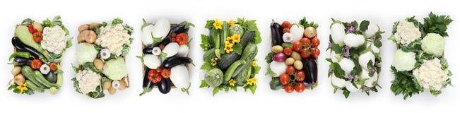 Корзина взгляд сверху овощей изолированная на белой предпосылке, запрете сети Стоковая Фотография