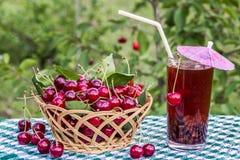 Корзина вишен и напитка вишни (компота, сока) на предпосылке вишневого дерева Стоковые Фото